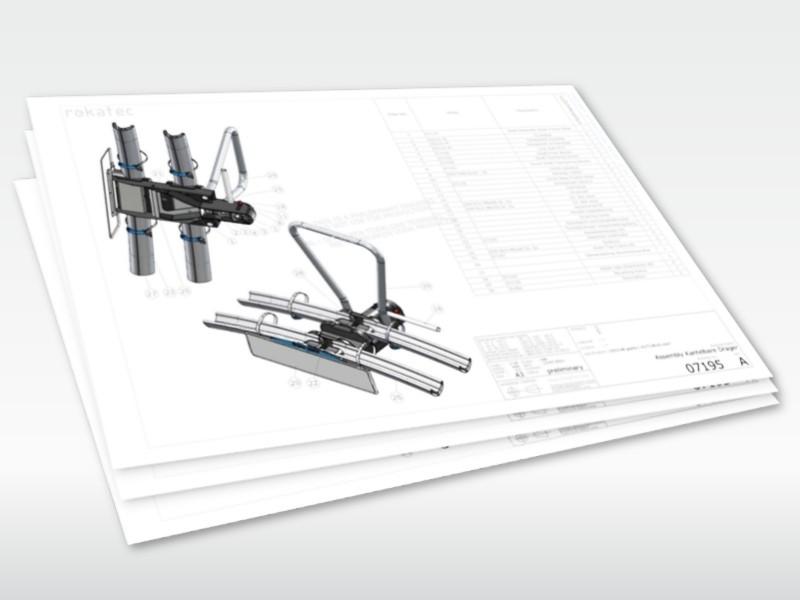 Technische tekening voor de productie en assemblage