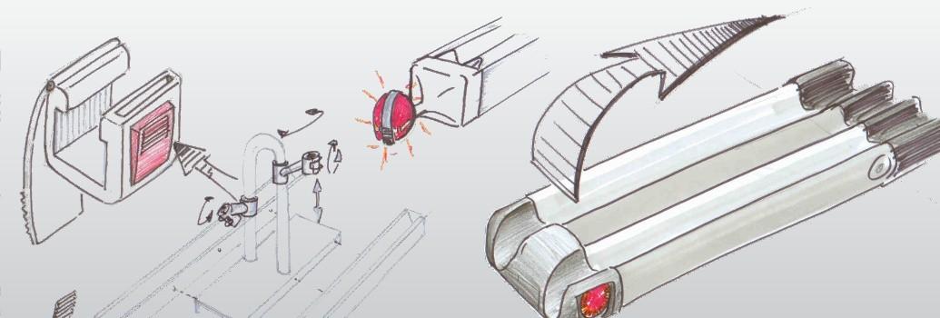 Ontwerpschetsen van de Twinnyload fietsendrager