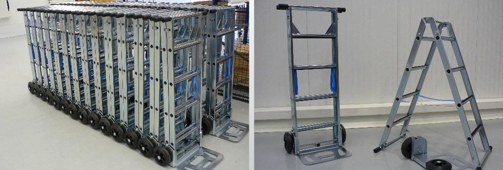 Serieproductie van de Scalamix Steekwagen en ladder in een