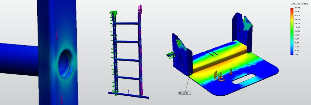Simuleren van het frame van de Scalamix Steekwagen en ladder in een