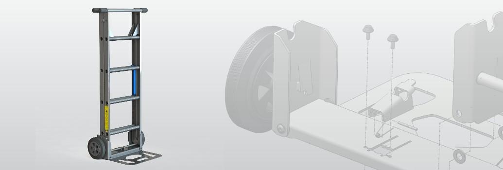 3D model van de Scalamix Steekwagen en ladder in een