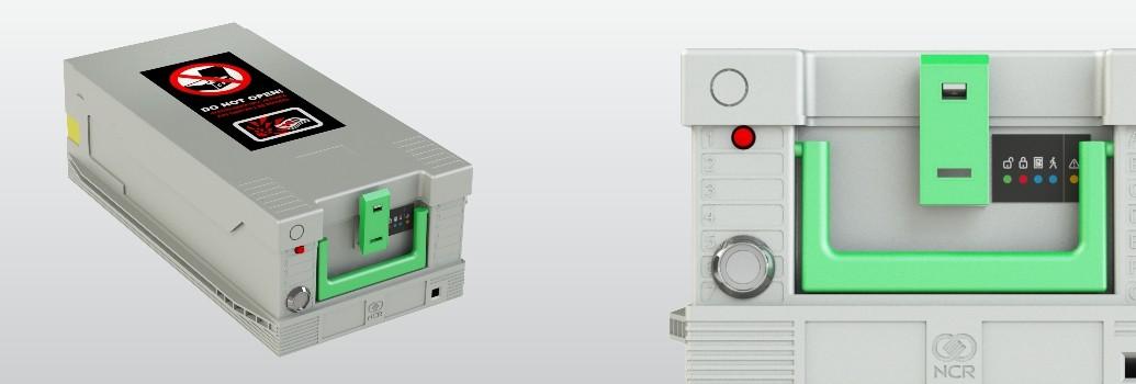Beveiliging van een NCR geldcassette tegen plofkraken